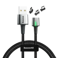 Кабель Baseus Zinc Magnetic Cable Kit (Lightning+Type-C+microUSB) 1м Чёрный